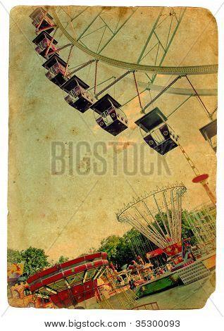 Amusement Park, A Ferris Wheel. Old Postcard