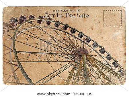 An Old Postcard With A Big Ferris Wheel.