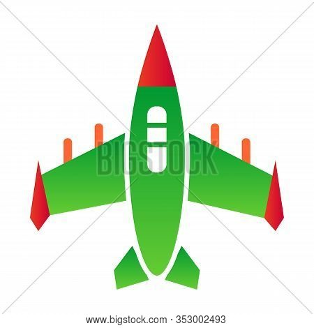 Fighter Aircraft Flat Icon. Airplane Vector Illustration Isolated On White. Jet Fighter Gradient Sty