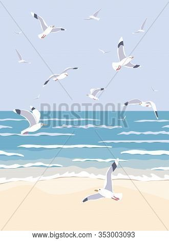 Simple Natural Background With Sea Coast Scenery. Serenity Landscape With Blue Water, Small Waves An