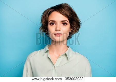 Photo Of Nice Attractive Business Lady Short Bob Hairstyle Not Smiling Serious Responsible Person We
