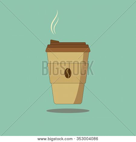 Hot Steamy Coffee To Go In Recyclable Brown Paper Cup With Lead Shadow Floating On Turquoise Backgro
