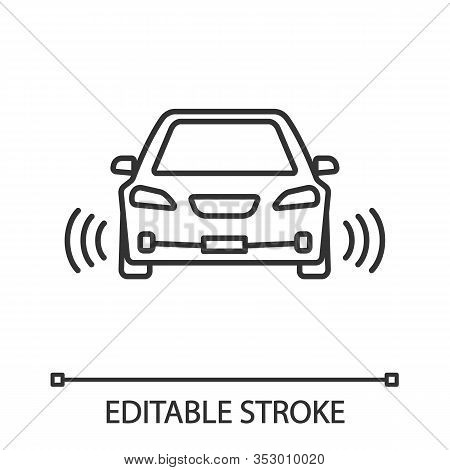 Smart Car In Front View Linear Icon. Nfc Auto With Radar Sensors. Thin Line Illustration. Self Drivi