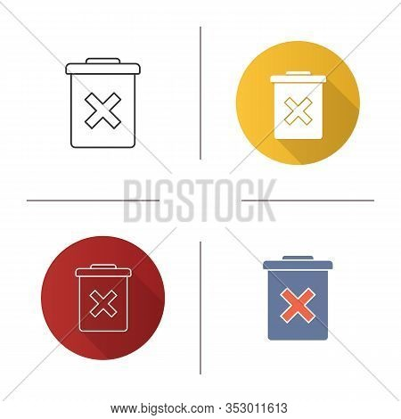 Delete Forever Button Icon. Dustbin.garbage Can, Trashcan. Do Not Discard. Flat Design, Linear And C
