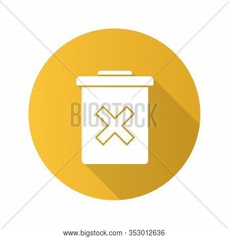 Delete Forever Button Flat Design Long Shadow Glyph Icon. Dustbin.garbage Can, Trashcan. Do Not Disc