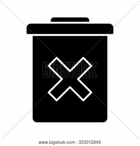 Delete Forever Button Glyph Icon. Silhouette Symbol. Dustbin.garbage Can, Trashcan. Do Not Discard.
