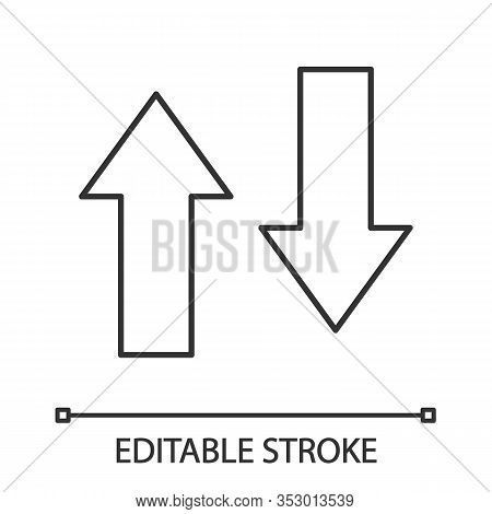 Vertical Swap Linear Icon. Thin Line Illustration. Exchange Arrows. Vertical Flip. Import And Export