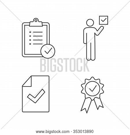 Approve Linear Icons Set. Verification And Validation. Task Planning, Voter, Document Verification,