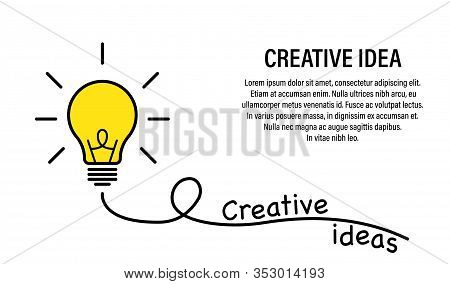 Idea Creative Concept. Vector Isolated Success Illustration. Lamp Idea Business Concept. Power Energ