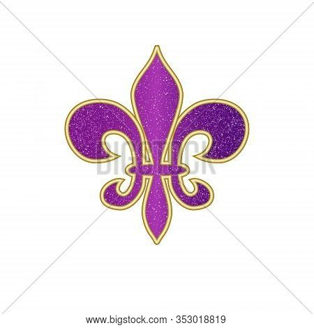 Beautiful Fleur-de-lis Lily Symbol Isolated On White. Venetian Carnival Mardi Gras Party. Heraldic L