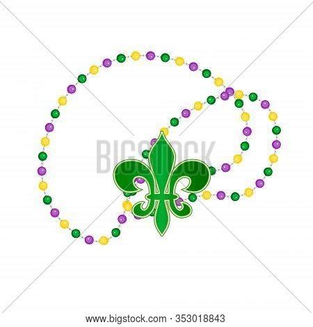Beautiful Yellow, Green, Purple Beads, Fleur-de-lis Lily Isolated On White. Venetian Carnival Mardi