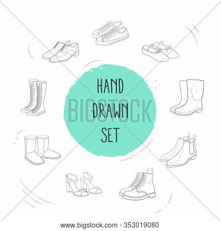 Set Of Design Icons Line Style Symbols With Dr Martens, Chelsea Boots, Shoes And Other Icons For You