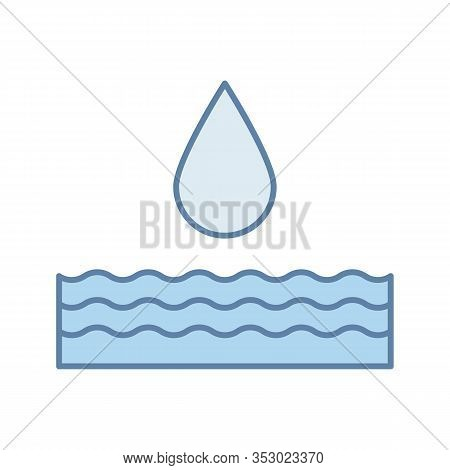 Water Energy Color Icon. Hydropower. Hydroelectricity. Isolated Vector Illustration