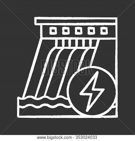Hydroelectric Dam Chalk Icon. Water Energy Plant. Hydropower. Hydroelectricity. Isolated Vector Chal