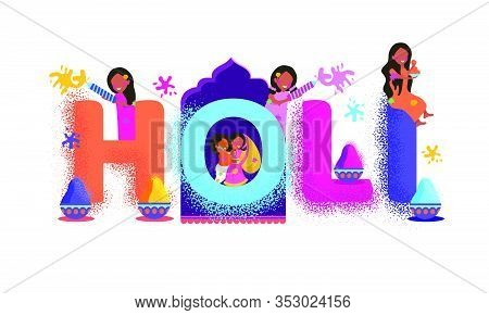 Illustration Of Indian People Celebrating Festival Of Colors Holi Adorable Doodles Creative Concept