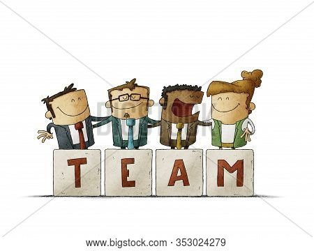 Work Team Are Hugging Behind Some Letters That Say Team. Isolated