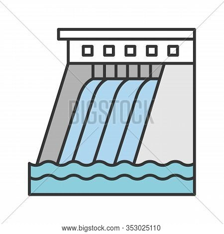 Hydroelectric Dam Color Icon. Water Energy Plant. Hydropower. Hydroelectricity. Isolated Vector Illu