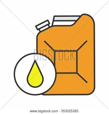 Steel Jerry Can Color Icon. Gasoline Can. Petrol. Fuel Container. Isolated Vector Illustration
