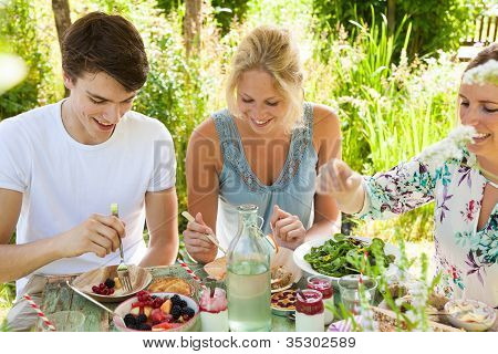 Group of three friends having an outdoors picnic in the summer garden poster