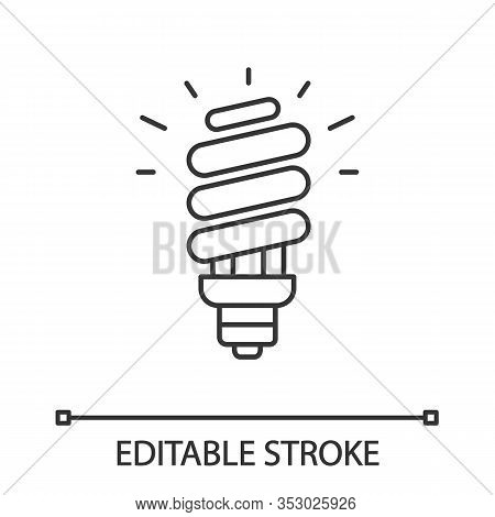 Energy Saving Light Bulb Linear Icon. Compact Fluorescent Lamp. Thin Line Illustration. Energy Effic