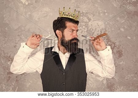 He Knows Formula For Success. Bearded Man Wear Crown On Abstract Background. Successful Barber Enjoy