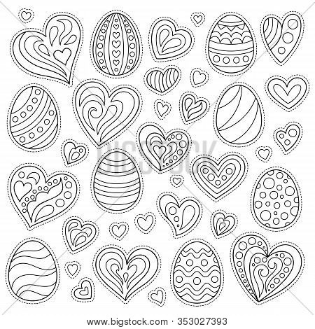 Set Of Cartoon Contour Stickers Easter Eggs And Hearts, Isolated On White Background. Kit Of Design