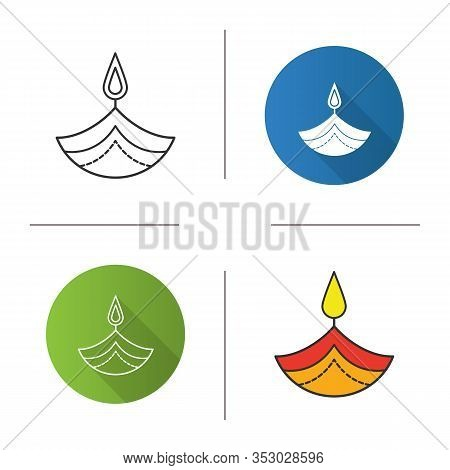 Diya Icon. Islamic Oil Lamp. Diwali. Festival Of Lights. Burning Bowl Oil Lamp. Flat Design, Linear