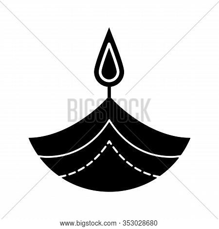 Diya Glyph Icon. Silhouette Symbol. Islamic Oil Lamp. Diwali. Festival Of Lights. Burning Bowl Oil L