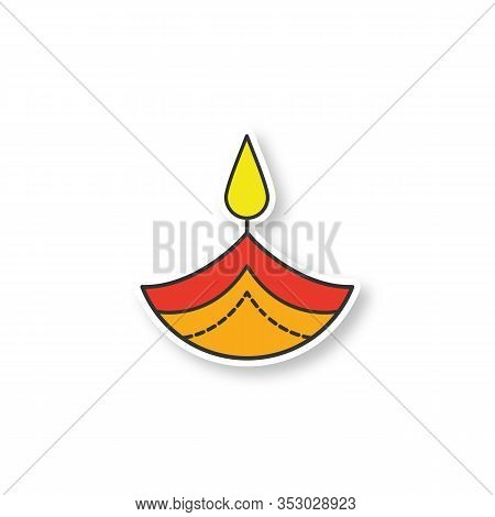 Diya Patch. Color Sticker. Islamic Oil Lamp. Diwali. Festival Of Lights. Burning Bowl Oil Lamp. Vect
