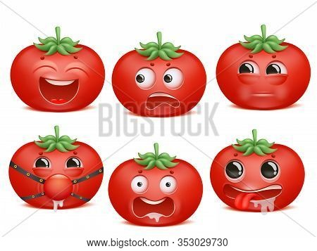 Tomato Emoji Cartoon Character Set. Various Emotions. Passion, Bdsm, Fear, Crazy, Mad Insult Vector
