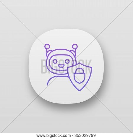 Secured Chatbot App Icon. Confidential Bot Dialog. Ui Ux User Interface. Virtual Support Service. Ch