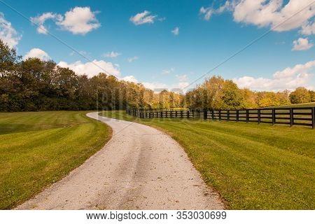 Country Road Along Horse Farms. Country Landscape. Kentucky, Usa