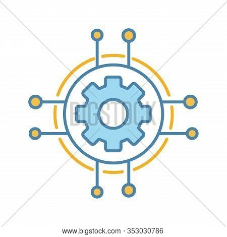 Digital Settings Color Icon. Technological Progress And Innovation. Gear. Machine Learning. Cogwheel