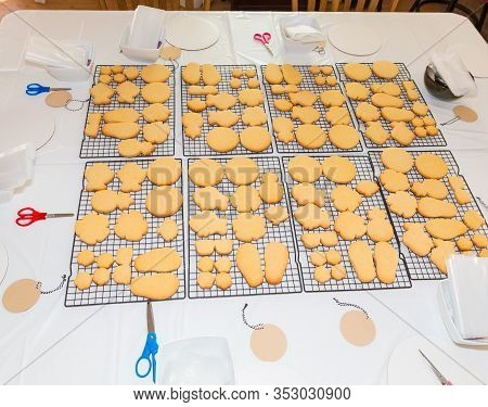 Home Backed Cookies On Table Ready For Decoration.
