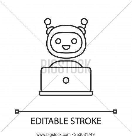 Chatbot Linear Icon. Thin Line Illustration. Chat Bot. Artificial Conversational Entity. Virtual Ass