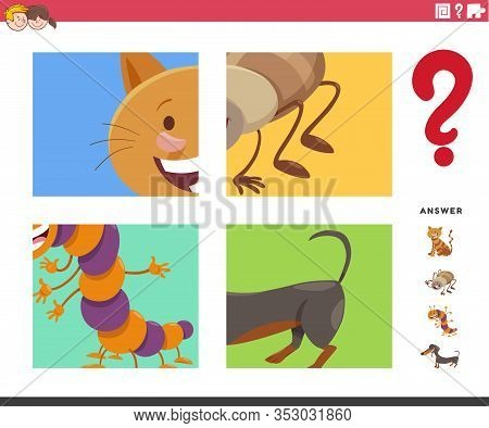 Cartoon Illustration Of Educational Game Of Guessing Animals Species Characters Worksheet Or Applica