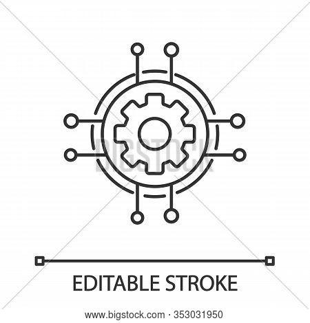 Digital Settings Linear Icon. Technological Progress And Innovation. Thin Line Illustration. Gear. M