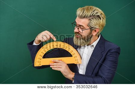Teaching About Angles. Mathematics And People Concept. Mathematics Favorite Subject. Man Teacher Use