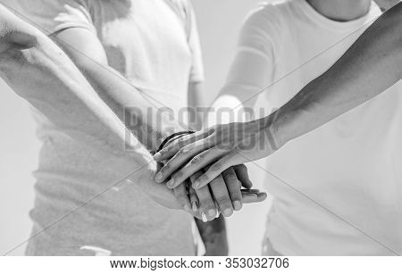 Group Of Partnership. Teamwork Meeting. Hands Together. Diversity Group Communication. Concept About