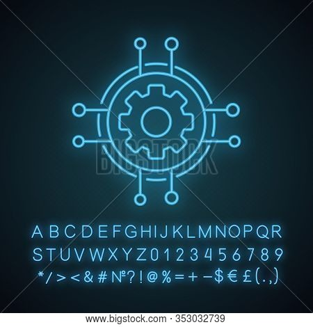 Digital Settings Neon Light Icon. Technological Progress And Innovation. Glowing Sign With Alphabet,