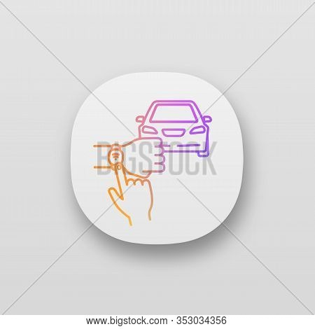 Nfc Car App Icon. Nfc Bracelet Auto Key. Ui Ux User Interface. Smart Automobile. Near Field Communic