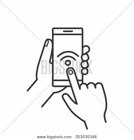 Hands Holding Nfc Smartphone Linear Icon. Thin Line Illustration. Nfc Phone. Near Field Communicatio