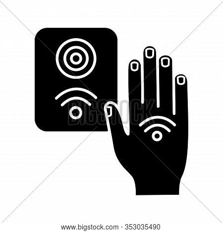 Nfc Reader Glyph Icon. Rfid Access Control. Silhouette Symbol. Nfc Button And Hand Sticker. Near Fie