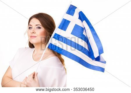 Brunette Curly Long Hair Young Woman With Greek Waving Flag, National Symbol Of Greece, Isolated On