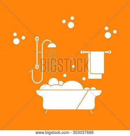 Vector Illustration Bath, Shower, Bubbles, Towel, Hanger. Bath Time Concept. Bathtub. Bathroom Set,