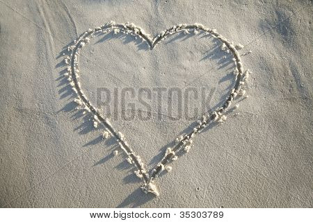 Heart Drawn In Sand