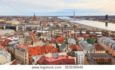 Riga, Latvia - March 20:  A Panorama Of The City Of Riga, Capital Of Latvia On March 20, 2014.  The