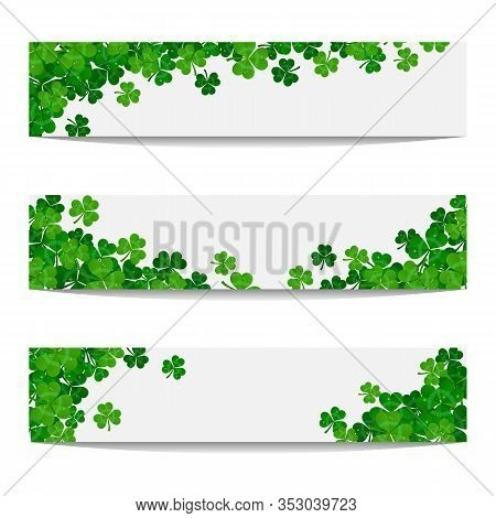 Set Of Vector Frames With Green Shamrocks