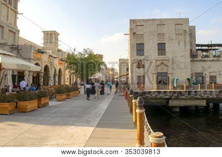 Dubai / Uae - February 21, 2020: Al Seef Village At Bur Dubai With Many People And Restaurants. Al S