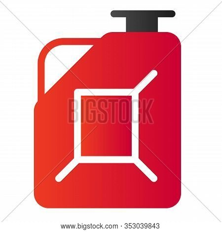 Fuel Canister Flat Icon. Jerrycan Vector Illustration Isolated On White. Petrol Tank Gradient Style